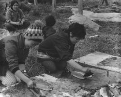 Filleting Salmon, Mekoryuk, Nunivak Photo