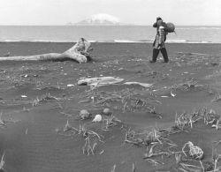 Palmer Sekora and Linda Sekora on Bering Sea Beach, Kudiakof Islands Photo