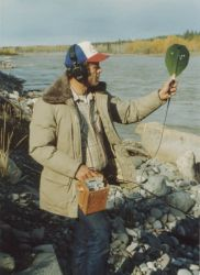 Biologist with Salmon Tracking Device Photo