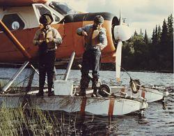 Nowitna River, Junekaket Slough, Fishermen and Airplane Photo