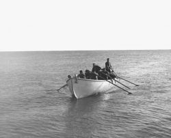 Aleuts in Lifeboat at St. Paul, Pribilof Islands Photo