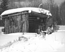 Log Cabin at Hodzana, Yukon River. Photo