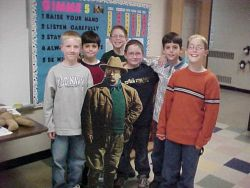 Students With Teddy Roosevelt Photo