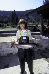 FWS Employee with Chinook Salmon Photo