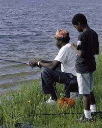 Father and son fishing at Eufaula NWR Photo