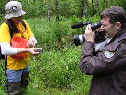 Mike Hobbs, Public Affairs Specialist films bog turtle release Photo