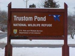 Trustom Pond NWR entrance sign Photo