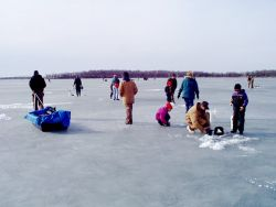 Fishing on ice, Waubay National Wildlife Refuge Photo