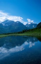 Lake and Mountains Scenic View (Alaska) Photo