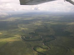 Meandering River in Complex Landscape in Northern Paraguay Photo