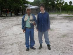 Peccary skull and ranch foreman in Pantanal Photo