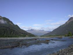 A river valley cutting through central Alaska along the George Parks Highway. Photo