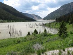 Quake Lake, formed on August 17, 1959, from a great landslide damming the Madison River following a 7.5 magnitude earthquake known as the Hebgen Lake  Photo