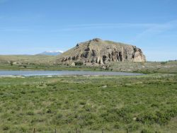 Beaverhead Rock, which Sacajawea, the guide of the Lewis and Clark Expedition, recognized as the landmark for the summer hunting ground of her people, Photo