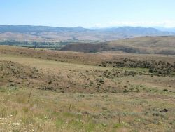Looking down into Pine Valley along Oregon State highway 86 just outside of Halfway. Photo