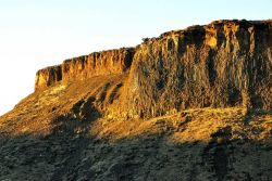 Columbia River Plateau basalt flow in the late afternoon sun. Photo
