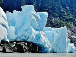 At the toe of Mendenhall Glacier just prior to a calving. Photo