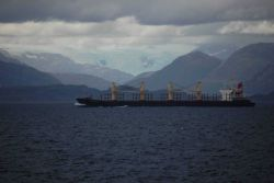 A large cargo vessel transiting the Strait of Magellan Photo