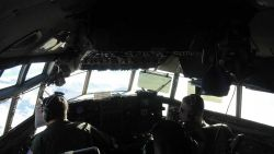 Cockpit of C-130 flying to South Pole Station. Photo