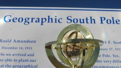 The Geographic South Pole monument. Photo