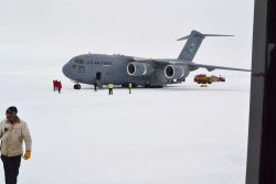 Air Force C-17 Globemaster aircraft at South Pole Station in the austral spring of 2012. Photo
