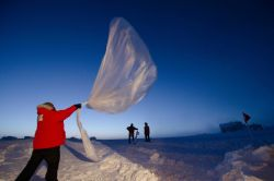 Launching an ozonesonde balloon Photo
