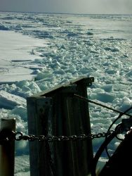 Broken Arctic sea ice in the wake of the US Coast Guard Icebreaker HEALY during scientific studies in the Chukchi Sea. Photo