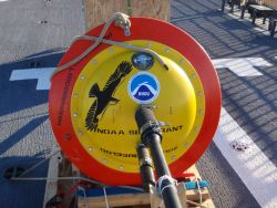 A NOAA ice buoy ready for deployment. Photo