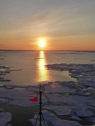 Sun reflecting off open water and ice floes Photo