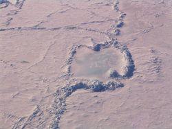Pressure ridges enclosing bare ice Photo