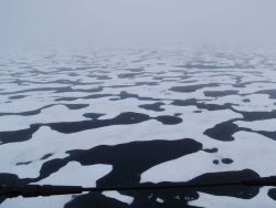 A vast expanse of interlocking melt pools as seen on a foggy misty day. Photo