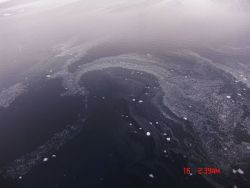 Swirls of nilas forming on open water Photo