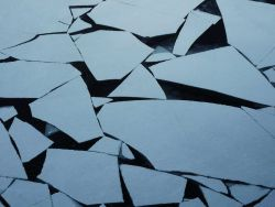 Polygons of new ice form striking geometric patterns. Photo