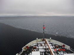 The USCG icebreaker HEALY cruising in open water along an area dominated by pancake ice. Photo
