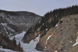 A scene along the Alaska Railroad Aurora Winter Train in the Nenana River Canyon . Image
