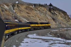 A scene along the Alaska Railroad Aurora Winter Train. Image