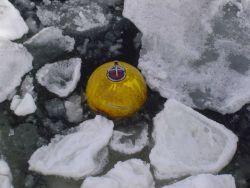 Acoustic doppler current profiler (ADCP) buoy in the ice. Image