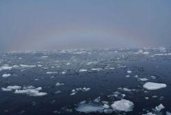 A rare phenomenom known as an ice blink rainbow. Image