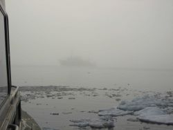 NOAA Ship FAIRWEATHER in the fog at the edge of the ice. Photo
