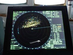 Radar display while in the pack ice about 40 nautical miles west of Point Barrow. Photo