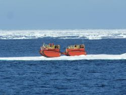 Arktos Evacuation Craft being tested by US Coast Guard north of Point Barrow. Image