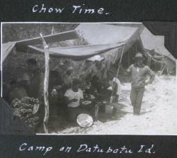 Chow time at the camp on Datubatu Island. Photo