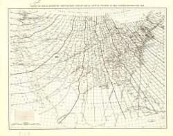 Lines of equal magnetic declination and equal annual change for 1935. Photo