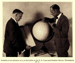 Determination of the epicenter of an earthquake by manual means on a globe of the Earth Photo