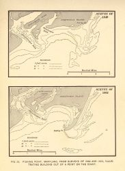 Coast Survey surveys of Chincoteague Island, Virginia illustrating building out of land areas between 1849 and 1902 Photo