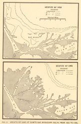 Growth of land at Cubits Gap, Mississippi River Delta, between 1852 and 1905 Photo