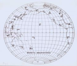 Map showing the magnetic observatories of the world. Photo