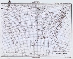 Map showing lines of equal magnetic declination as determined by the Coast Survey in 1850. Photo