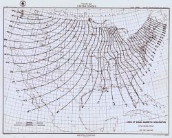 Map showing lines of equal magnetic declination as determined by the Coast Survey in 1875. Photo
