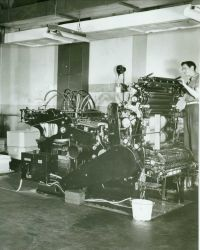 A Harris press in the reproduction plant of the Coast and Geodetic Survey in the basement of the Department of Commerce Building. Image